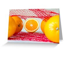 Oranges on a wooden table in the network Greeting Card