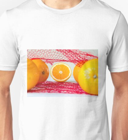 Oranges on a wooden table in the network Unisex T-Shirt