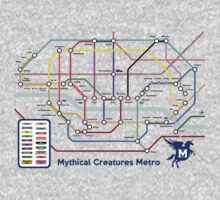 Epic Mythical Creatures Underground Map Kids Tee