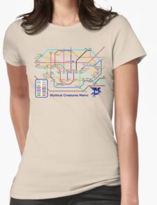Epic Mythical Creatures Underground Map Womens Fitted T-Shirt
