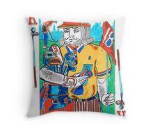 Modern King of Clubs Throw Pillow