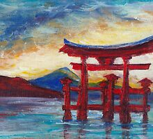 Itsukushima Shrine Gate, Radiant Evening by Lester Ancheta