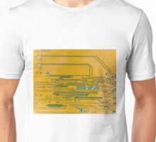 Yellow circuit board Unisex T-Shirt