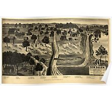 Panoramic Maps New Salem home of Abraham Lincoln 1831 to 1837 Poster