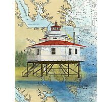 Stingray Pt Lighthouse VA Nautical Chart Map Peek Photographic Print