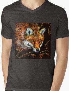 Red Fox in Autumn Fall Wildlife Woodland Animal Art Mens V-Neck T-Shirt