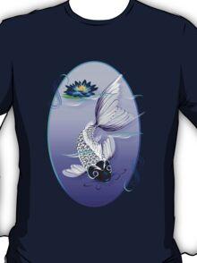 White Koi-Blue Lily Oval T-Shirt