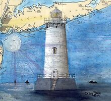 Great Beds Lighthouse NJ Nautical Map Cathy Peek by Cathy Peek