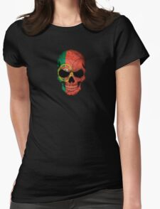 Portuguese Flag Skull Womens Fitted T-Shirt