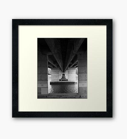 Paddleboarder Under The Bridge Framed Print