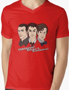 New Who Doctors: FANTASTIC! Allons-Y, Geronimo! Mens V-Neck T-Shirt
