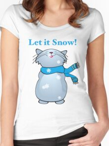 Let it Snow Cat Women's Fitted Scoop T-Shirt
