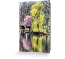 Willow and Cherry by Lake Greeting Card
