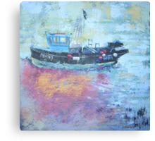 Fishing boat at low tide, Rye Harbour, Acrylics Canvas Print