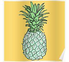 Blue Pineapple Print Poster