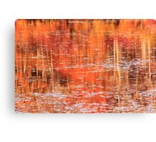 Fall Landscape Reflections on the Lily Pond Canvas Print