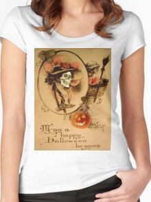 Happy Halloween (Vintage Halloween Card) Women's Fitted Scoop T-Shirt