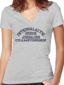 Intergalactic Geese Juggling Championship Women's Fitted V-Neck T-Shirt