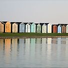 Beach Hut Reflections, Brightlingsea by FrancesArt