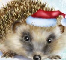 Hedgehog Festive card Sticker