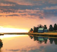 Clearing storm at sunrise, Nauset Marsh, Cape Cod by Roupen  Baker