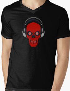 skull rock - red Mens V-Neck T-Shirt