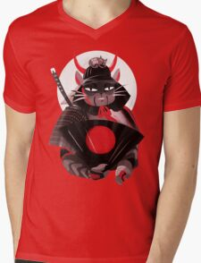 Samurai Cat Mens V-Neck T-Shirt
