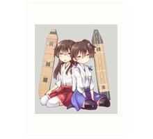 Akagi x Kaga Chibi Sleeps Art Print