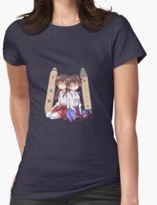 Akagi x Kaga Chibi Sleeps Womens Fitted T-Shirt