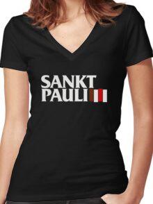 FC St. Pauli Black Flag T-Shirt Women's Fitted V-Neck T-Shirt