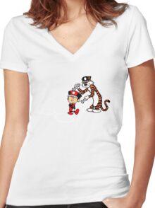 Calvin Scarlet Women's Fitted V-Neck T-Shirt