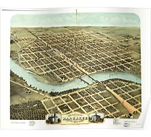 Panoramic Maps Bird's eye view of the city of Kankakee Kankakee County Illinois 1869 Poster