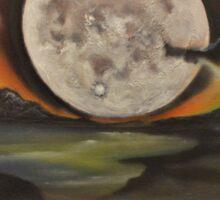 Birthday Moon -oil painting- alleyvision Sticker