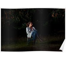Portrait in a forest. Seated. Poster