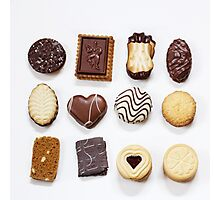 Assorted cookies on white Photographic Print