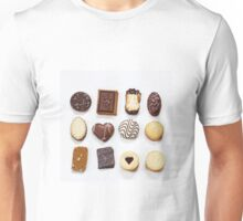 Assorted cookies on white Unisex T-Shirt