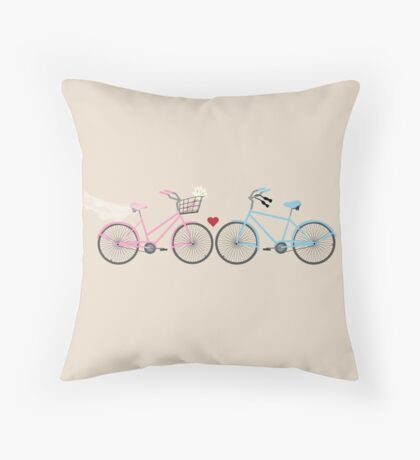 Two Bicycles Love Wedding Throw Pillow