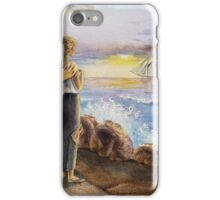 Girl At The Ocean Looking At The Ship iPhone Case/Skin