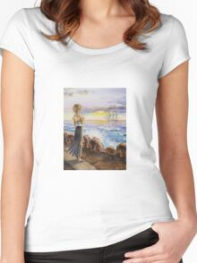 Girl At The Ocean Looking At The Ship Women's Fitted Scoop T-Shirt