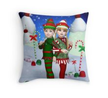 Elves of Candy Mountain Throw Pillow