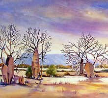 cockburn range with boab trees west australia by Audrey  Russill