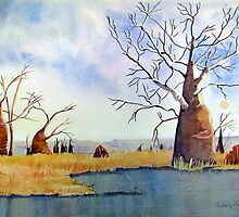 boab trees near a billabong 2 by Audrey  Russill