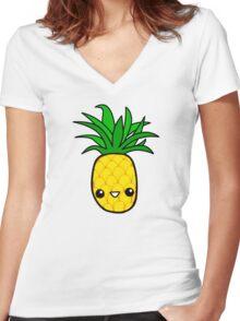 Smiley Pineapple Women's Fitted V-Neck T-Shirt