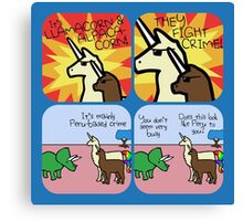 Llamacorn and Alpacacorn: They Fight Crime (Horned Warrior Friends) Canvas Print