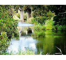Reflection of Rail Bridge in Werribee River.  Photographic Print