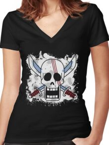 Red Hair Pirates Women's Fitted V-Neck T-Shirt
