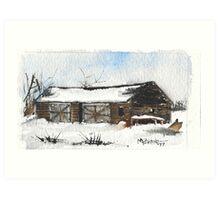 Snowy New England Barn Art Print