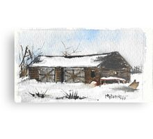 Snowy New England Barn Metal Print