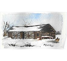 Snowy New England Barn Poster