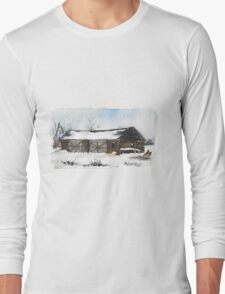 Snowy New England Barn Long Sleeve T-Shirt